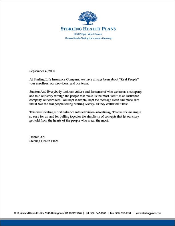 Sterling Health testimonial letter